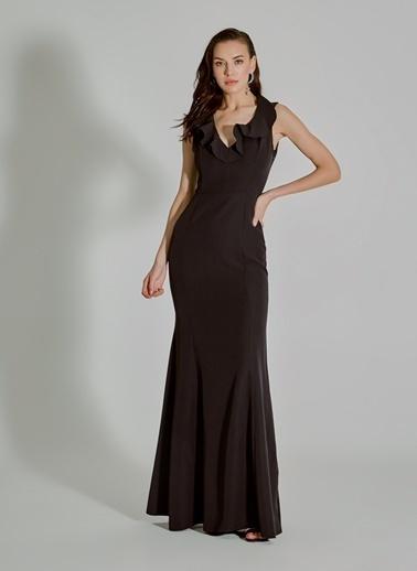 People By Fabrika Volan Detaylı Abiye Elbise Siyah